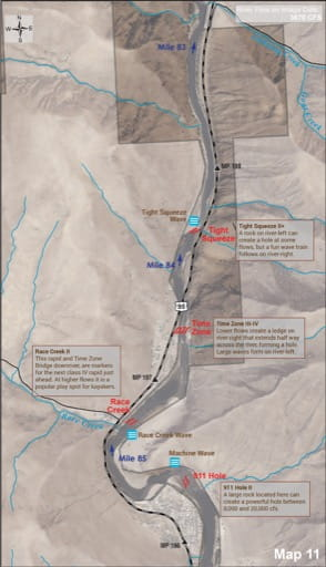 Map 11 of the Lower Salmon River Guide in Idaho. Published by the Bureau of Land Management (BLM).