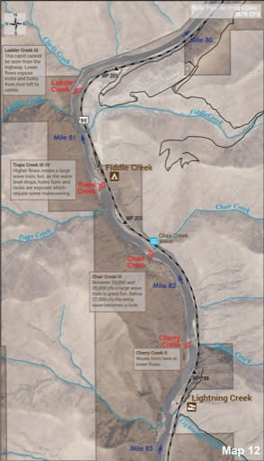 Map 12 of the Lower Salmon River Guide in Idaho. Published by the Bureau of Land Management (BLM).