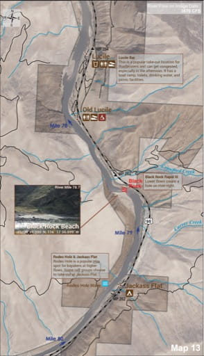 Map 13 of the Lower Salmon River Guide in Idaho. Published by the Bureau of Land Management (BLM).