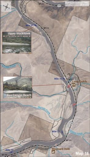 Map 16 of the Lower Salmon River Guide in Idaho. Published by the Bureau of Land Management (BLM).