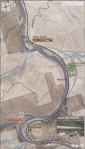 Map 17 of the Lower Salmon River Guide in Idaho. Published by the Bureau of Land Management (BLM).