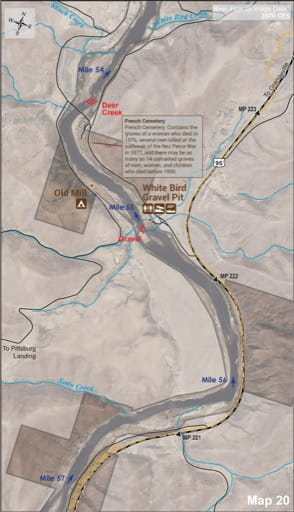 Map 20 of the Lower Salmon River Guide in Idaho. Published by the Bureau of Land Management (BLM).