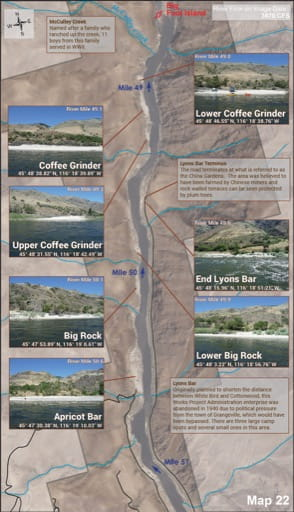 Map 22 of the Lower Salmon River Guide in Idaho. Published by the Bureau of Land Management (BLM).