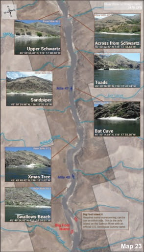 Map 23 of the Lower Salmon River Guide in Idaho. Published by the Bureau of Land Management (BLM).