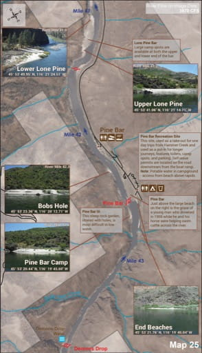 Map 25 of the Lower Salmon River Guide in Idaho. Published by the Bureau of Land Management (BLM).
