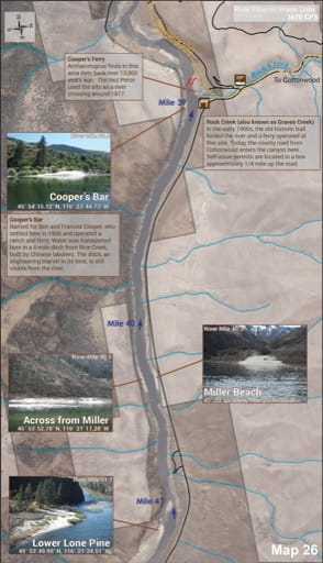 Map 26 of the Lower Salmon River Guide in Idaho. Published by the Bureau of Land Management (BLM).