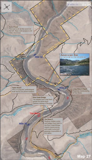 Map 27 of the Lower Salmon River Guide in Idaho. Published by the Bureau of Land Management (BLM).