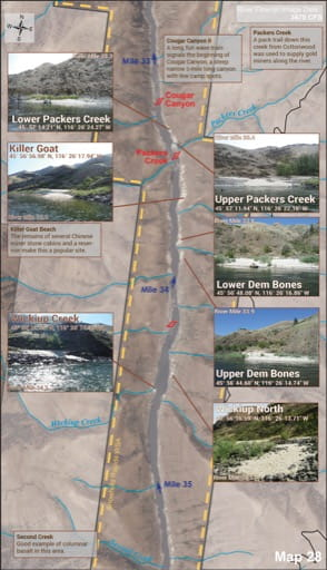 Map 28 of the Lower Salmon River Guide in Idaho. Published by the Bureau of Land Management (BLM).