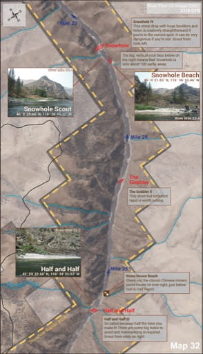 Map 32 of the Lower Salmon River Guide in Idaho. Published by the Bureau of Land Management (BLM).