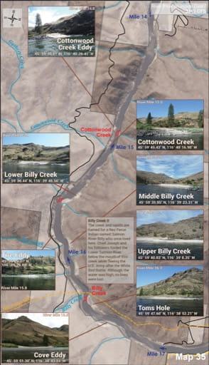 Map 35 of the Lower Salmon River Guide in Idaho. Published by the Bureau of Land Management (BLM).
