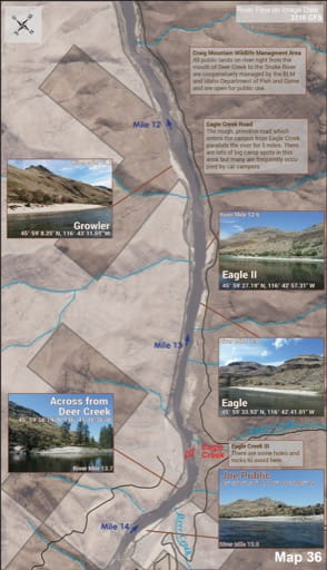 Map 36 of the Lower Salmon River Guide in Idaho. Published by the Bureau of Land Management (BLM).