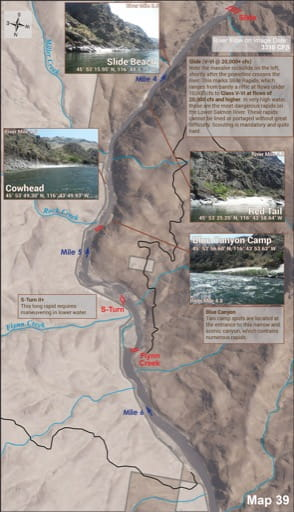 Map 39 of the Lower Salmon River Guide in Idaho. Published by the Bureau of Land Management (BLM).