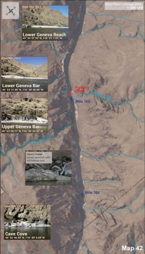 Map 42 of the Lower Salmon River Guide in Idaho. Published by the Bureau of Land Management (BLM).