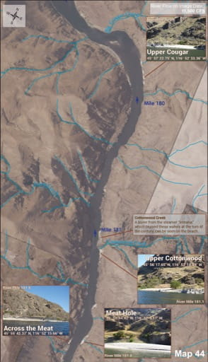 Map 44 of the Lower Salmon River Guide in Idaho. Published by the Bureau of Land Management (BLM).