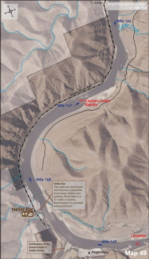 Map 49 of the Lower Salmon River Guide in Idaho. Published by the Bureau of Land Management (BLM).