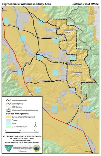 map of BLM Salmon FO - Eighteenmile WSA