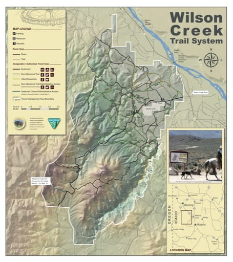 Map of the Wilson Creek Trail System near Murphy in Idaho. Published by the Bureau of Land Management (BLM).