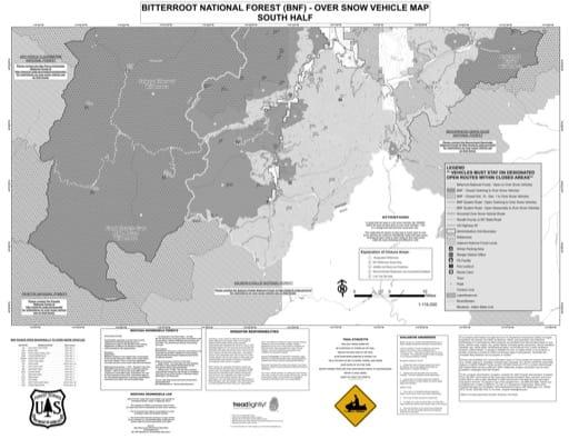 map of Bitterroot MVUM - Winter South 2016