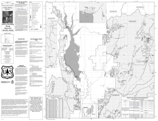 Motor Vehicle Use Map (MVUM) of the western Cascade Ranger District in Boise National Forest (NF) in Idaho. Published by the U.S. Forest Service (USFS).