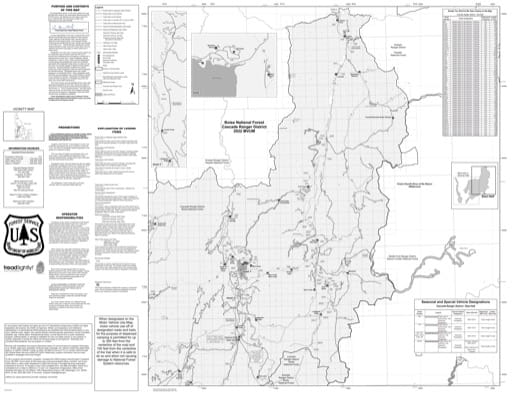 Motor Vehicle Use Map (MVUM) of the eastern Cascade Ranger District in Boise National Forest (NF) in Idaho. Published by the U.S. Forest Service (USFS).