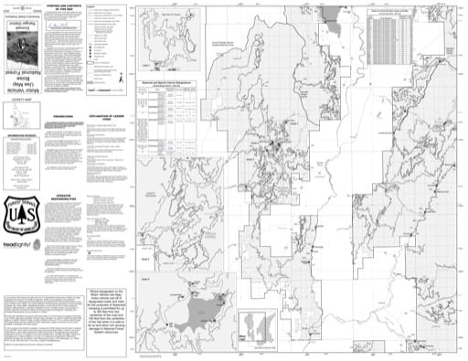 Motor Vehicle Use Map (MVUM) of the western Emmett Ranger District in Boise National Forest (NF) in Idaho. Published by the U.S. Forest Service (USFS).