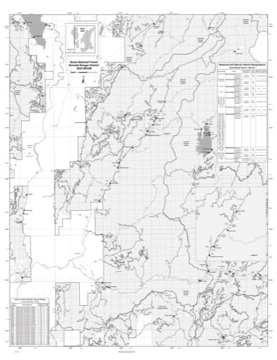 Motor Vehicle Use Map (MVUM) of the eastern Emmett Ranger District in Boise National Forest (NF) in Idaho. Published by the U.S. Forest Service (USFS).
