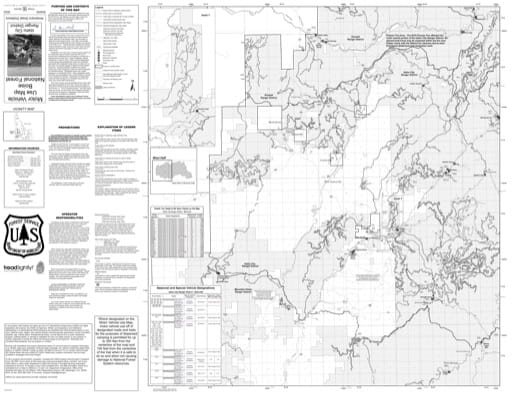 Motor Vehicle Use Map (MVUM) of the western Idaho City Ranger District in Boise National Forest (NF) in Idaho. Published by the U.S. Forest Service (USFS).