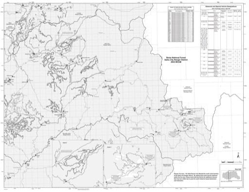 Motor Vehicle Use Map (MVUM) of the eastern Idaho City Ranger District in Boise National Forest (NF) in Idaho. Published by the U.S. Forest Service (USFS).