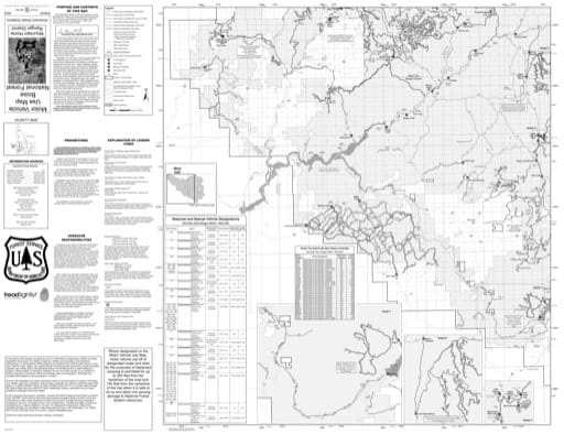 Motor Vehicle Use Map (MVUM) of the western Mountain Home Ranger District in Boise National Forest (NF) in Idaho. Published by the U.S. Forest Service (USFS).
