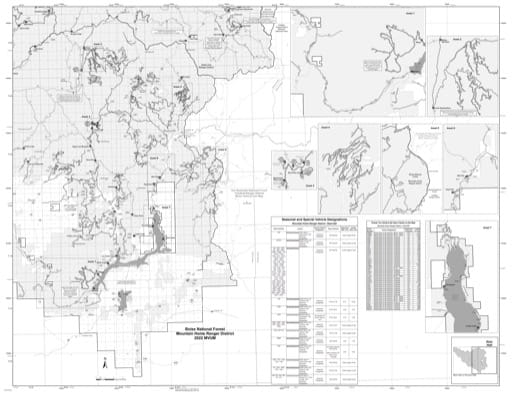 Motor Vehicle Use Map (MVUM) of the eastern Mountain Home Ranger District in Boise National Forest (NF) in Idaho. Published by the U.S. Forest Service (USFS).