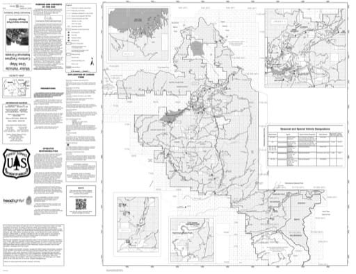 Motor Vehicle Use Map (MVUM) of the Ashton/Island Park Ranger District in Caribou-Targhee National Forest (NF) in Idaho and Wyoming. Published by the U.S. Forest Service (USFS).