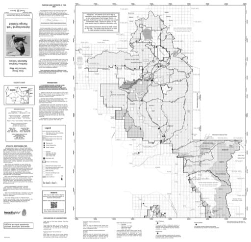 Over Snow Vehicle Use Map (OSVUM) of Ashton/Island Park in Caribou-Targhee National Forest (NF) in Idaho and Wyoming. Published by the U.S. Forest Service (USFS).