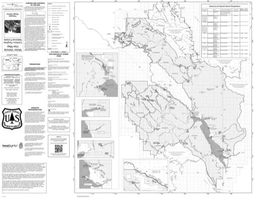 Motor Vehicle Use Map (MVUM) of the Palisades Ranger District in Caribou-Targhee National Forest (NF) in Idaho and Wyoming. Published by the U.S. Forest Service (USFS).