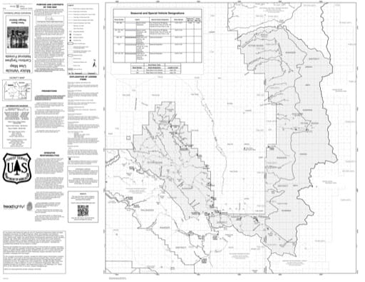 Motor Vehicle Use Map (MVUM) of the Teton Basin Ranger District in Caribou-Targhee National Forest (NF) in Idaho and Wyoming. Published by the U.S. Forest Service (USFS).