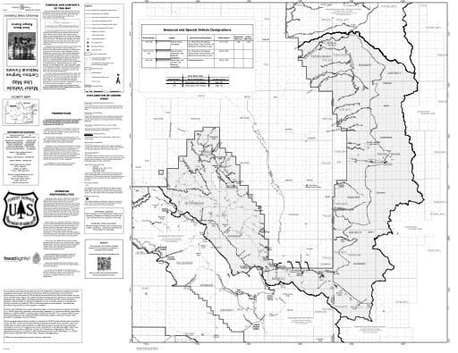 map of Caribou-Targhee MVUM - Teton Basin Winter 2016