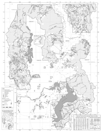Motor Vehicle Use Map (MVUM) of Kaniksu Zone (Back) in Idaho Panhandle National Forest (NF) in Idaho. Published by the U.S. Forest Service (USFS).