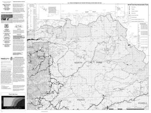 Winter Motor Vehicle Use Map (MVUM) of North Fork in Nez Perce-Clearwater National Forest (NF) in Idaho. Published by the U.S. Forest Service (USFS).