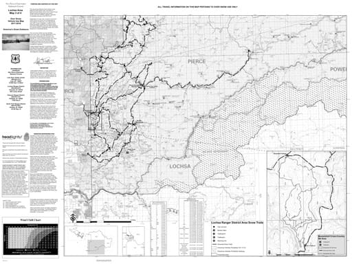 Winter Motor Vehicle Use Map (MVUM) of Lochsa in Nez Perce-Clearwater National Forest (NF) in Idaho. Published by the U.S. Forest Service (USFS).