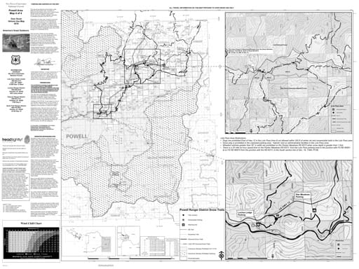 Winter Motor Vehicle Use Map (MVUM) of Powell in Nez Perce-Clearwater National Forest (NF) in Idaho. Published by the U.S. Forest Service (USFS).