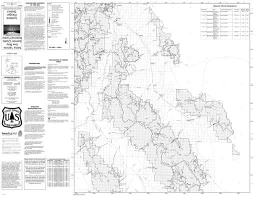 Motor Vehicle Use Map (MVUM) of Leadore in Salmon-Challis National Forest (NF) in Idaho. Published by the U.S. Forest Service (USFS).