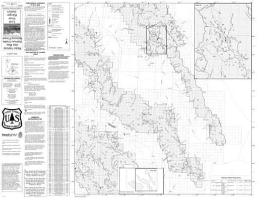 Motor Vehicle Use Map (MVUM) of Lost River (East) in Salmon-Challis National Forest (NF) in Idaho. Published by the U.S. Forest Service (USFS).
