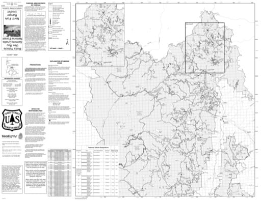 Motor Vehicle Use Map (MVUM) of North Fork in Salmon-Challis National Forest (NF) in Idaho. Published by the U.S. Forest Service (USFS).