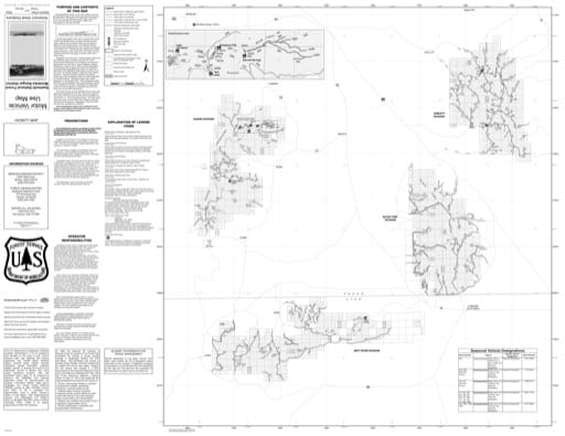 Motor Vehicle Use Map (MVUM) of the Eastern Part - Albion, Black Pine, Raft River & Sublett Divisions - of Minidoka Ranger District in Sawtooth National Forest (NF) in Idaho and Utah. Published by the U.S. Forest Service (USFS).,