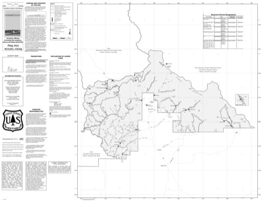 Motor Vehicle Use Map (MVUM) of Ketchum Ranger District in Sawtooth National Forest (NF) in Idaho. Published by the U.S. Forest Service (USFS).,