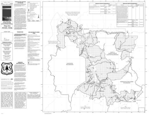 Motor Vehicle Use Map (MVUM) of the Sawtooth National Recreation Area (NRA) in Sawtooth National Forest (NF) in Idaho. Published by the U.S. Forest Service (USFS).,