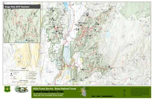 Map of Emmett Ranger District Trails in Boise National Forest (NF) in Idaho. Published by the U.S. Forest Service (USFS).