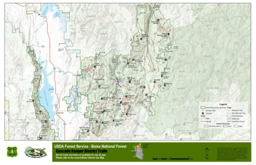 Map of Cascade Ranger District Trails in Boise National Forest (NF) in Idaho. Published by the U.S. Forest Service (USFS).