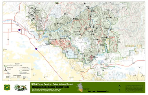 Map of Mountain Home Ranger District Trails in Boise National Forest (NF) in Idaho. Published by the U.S. Forest Service (USFS).