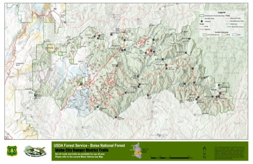 Map of Idaho City Ranger District Trails in Boise National Forest (NF) in Idaho. Published by the U.S. Forest Service (USFS).