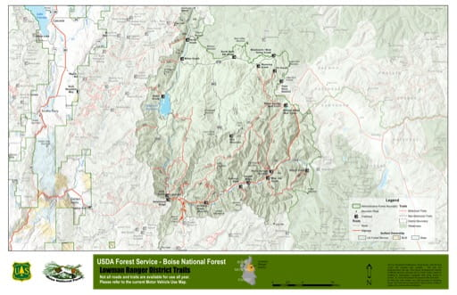 Map of Lowman Ranger District Trails in Boise National Forest (NF) in Idaho. Published by the U.S. Forest Service (USFS).